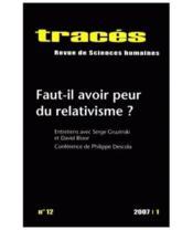 TRACES N.12 ; faut-il avoir peur du relativisme ? - Couverture - Format classique