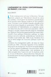 L'avenement de l'ecole contemporaine en france (1789-1835) - 4ème de couverture - Format classique