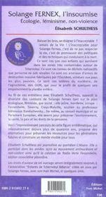 Solange fernex, l'insoumise - 4ème de couverture - Format classique