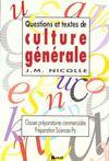 Questions et textes de culture generale