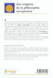 Aux origines de la philosophie européenne ; de la pensée archaïque au néoplatonisme (4e édition) - 4ème de couverture - Format classique