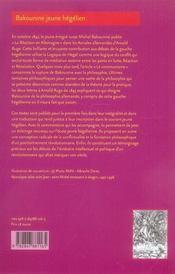 Bakounine jeune hegelien ; la philosophie et son dehors - 4ème de couverture - Format classique