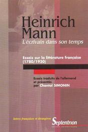 L'ecrivain dans son temps. essais sur la litterature francaise (1780/ 1930) - Intérieur - Format classique
