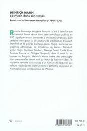 L'ecrivain dans son temps. essais sur la litterature francaise (1780/ 1930) - 4ème de couverture - Format classique