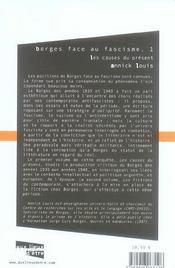 Borges Face Au Fascisme T.1 ; Les Causes Du Present - 4ème de couverture - Format classique