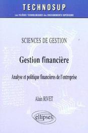 Sciences De Gestion Gestion Financiere Analyse Et Politique Financieres De L'Entreprise - Intérieur - Format classique