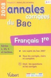 Annales Corrigees T.4 ; Français ; 1ères Toutes Séries (Edition 2008) - Intérieur - Format classique