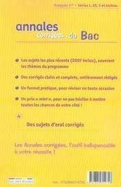 Annales Corrigees T.4 ; Français ; 1ères Toutes Séries (Edition 2008) - 4ème de couverture - Format classique