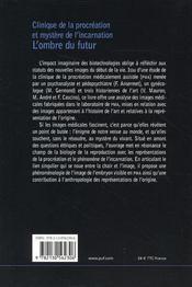 Clinique de la procréation et mystère de l'incarnation ; l'ombre du futur - 4ème de couverture - Format classique
