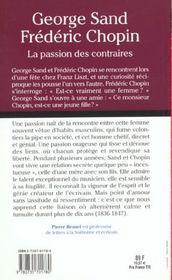 George Sand Frederic Chopin - 4ème de couverture - Format classique