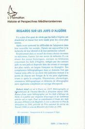 Regards Sur Les Juifs D Algerie - 4ème de couverture - Format classique