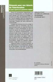 Elements pour une theorie de l interaction - 4ème de couverture - Format classique