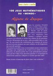 Affaire de logique (1 - 100 - 4ème de couverture - Format classique