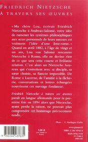 Friedrich nietzsche a travers ses oeuvres - 4ème de couverture - Format classique