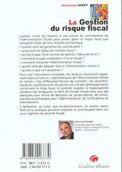 La gestion du risque fiscal - 4ème de couverture - Format classique