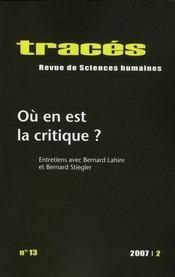 Traces ; revue de sciences humaines t.13 ; où en est la critique ? - Intérieur - Format classique