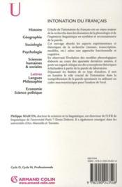 Intonation du français - 4ème de couverture - Format classique