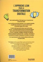 L'approche Lean pour la transformation digitale ; du client au code, du code au client - 4ème de couverture - Format classique