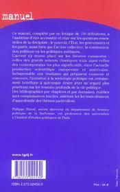 Sociologie politique 7e (7e édition) - 4ème de couverture - Format classique
