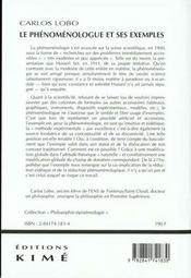 Phenomenologue et ses exemples (le) - 4ème de couverture - Format classique