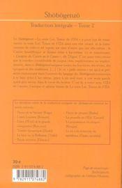 Maitre dogen shobogenzo tome 2 - 4ème de couverture - Format classique
