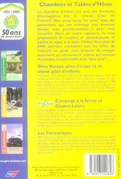 Gites De France. Chambres Et Tables D'Hotes - 4ème de couverture - Format classique