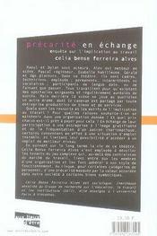 Precarite En Echange ; Enquete Sur L'Implication Au Travail - 4ème de couverture - Format classique