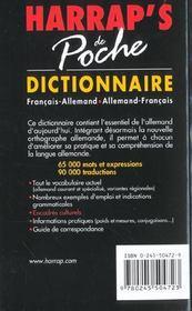 Dictionnaire Harrap's poche ; allemand-francais/francais-allemand (edition 2002) - 4ème de couverture - Format classique
