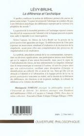 Levy-Bruhl ; La Difference Et L'Archaique - 4ème de couverture - Format classique