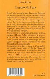 La Porte De L'Eau - 4ème de couverture - Format classique
