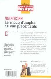 Argentissime, Le Mode D'Emploi De Vos Placements (Edition 2006) - 4ème de couverture - Format classique