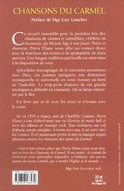 Chansons Du Carmel - 4ème de couverture - Format classique