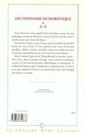 Dictionnaire humoristique de a a z - 4ème de couverture - Format classique