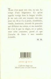 Extase Pour Une Infante Roumaine - 4ème de couverture - Format classique