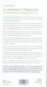 Cauchemar d'hippocrate (le) - 4ème de couverture - Format classique
