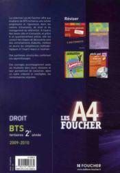 Droit ; Bts 2eme Annee (edition 2009/2010) - 4ème de couverture - Format classique