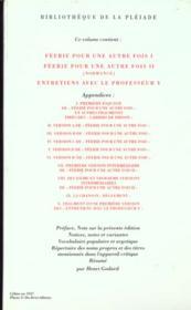Romans t.4 ; féerie pour une autre fois t.1 ; féerie pour une autre fois t.2 ; entretiens avec le professeur Y - 4ème de couverture - Format classique