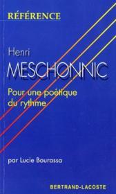 Henri Meshonnic, pour une poétique du rythme - Couverture - Format classique