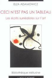Ceci N'Est Pas Un Tableau ; Les Ecrits Surrealistes Sur L'Art - Intérieur - Format classique