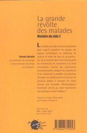 La grande revolte des malades. histoire du sida (2) - 4ème de couverture - Format classique