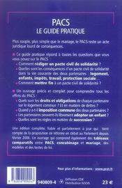 Pacs Le Guide Pratique 2006 Ned - 4ème de couverture - Format classique