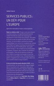 Services publics:un defi pour l'europe - 4ème de couverture - Format classique