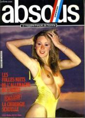 ABSOLU, le magazine français de l'homme N° 27 - LES FOLLES NUITS DE L'ALLEMAGNE DE L'OUEST - LA CHIRURGIE SEXUELLE... - Couverture - Format classique