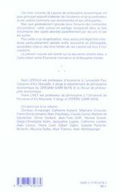 Lecons de philosophie economique t.2 ; economie normative et philosophie morale - 4ème de couverture - Format classique