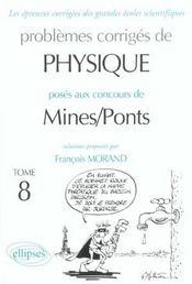 Problemes Corriges De Physique Mines/Ponts Tome 8 2001-2002 - Intérieur - Format classique