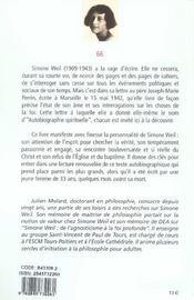 Simone Weil - En Quete De La Verite - 4ème de couverture - Format classique