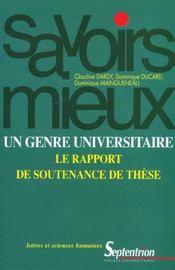 Un Genre Universitaire : Le Rapport De Soutenance De These - Intérieur - Format classique