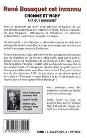 René Bousquet cet inconnu ; l'homme et Vichy - 4ème de couverture - Format classique