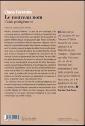 L'amie prodigieuse t.2 ; le nouveau nom - 4ème de couverture - Format classique