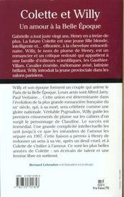 Colette Et Willy ; Un Amour A La Belle Epoque - 4ème de couverture - Format classique